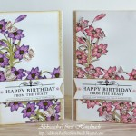 Rojstnodnevni voščilnici za ljubitelje lilij in metuljev s čudovitim rojstnodnevnim verzom - v roza, vijolični ali drugi želeni barvi.