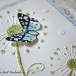 rocno-delo-unikat-voščilnica-posebna-knjiga-rojstni-dan-regratova-lučka-metuljček-turkizna-zelena-detajl