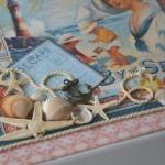 rocno-delo-unikat-album-za-fotografije-porocni-morski-morska-zvezda-skoljka-mornarska vrv-sidro-darilna-skatla-detajl