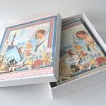 rocno-delo-unikat-album-za-fotografije-porocni-morski-morska-zvezda-skoljka-mornarska vrv-sidro-darilna-skatla-odprta