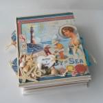 rocno-delo-unikat-album-za-fotografije-porocni-morski-morska-zvezda-skoljka-mornarska vrv-sidro-platnica