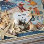 rocno-delo-unikat-album-za-fotografije-porocni-morski-morska-zvezda-skoljka-mornarska vrv-sidro-platnica-detajl