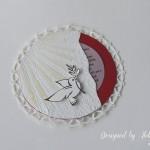 rocno-delo-unikat-vabilo-birma-rdeca-bela-golob-oljcna-vejica-soncni-zarki