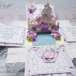 rocno-delo-unikat-voščilnica-škatlica-presenečenja-poroka-lila-sivka-vrtnice-mladoporočenca-most-3