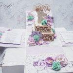rocno-delo-unikat-voščilnica-škatlica-presenečenja-poroka-mladoporočenca-torta-lila-mint-3